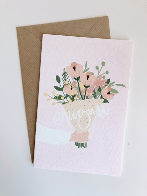 Biglietto auguri + bouquet fiori